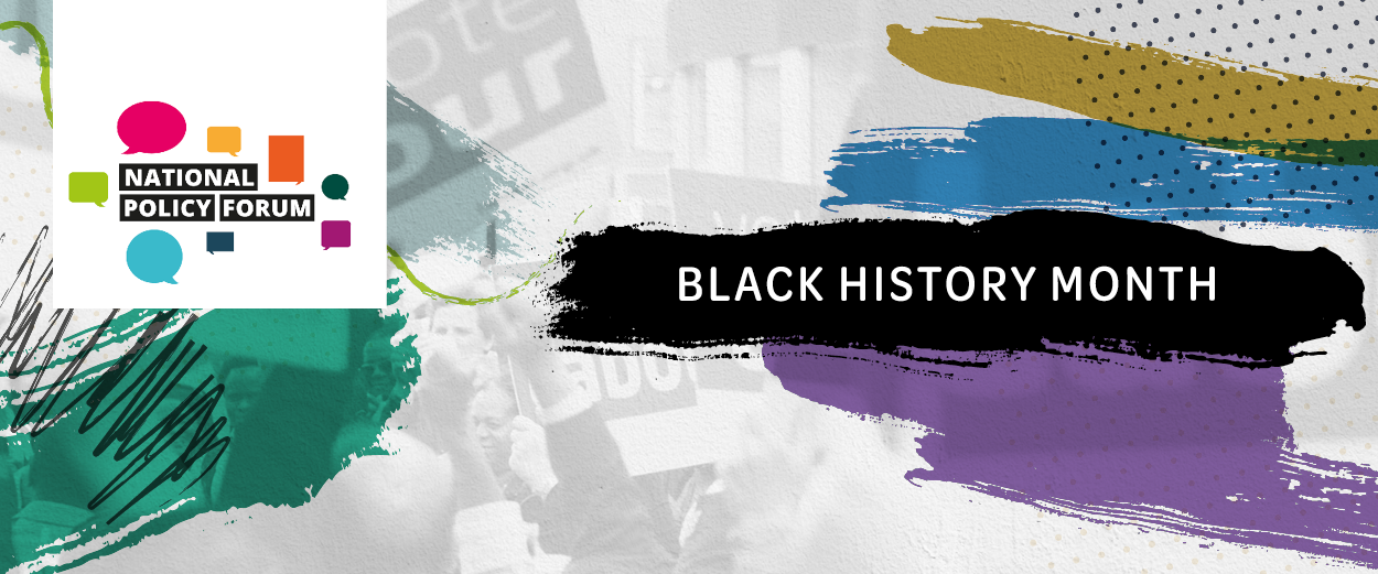 A banner with the National Policy Forum logo, alongside the words Black History Month